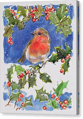 Christmas Robin Canvas Print by Diane Matthes