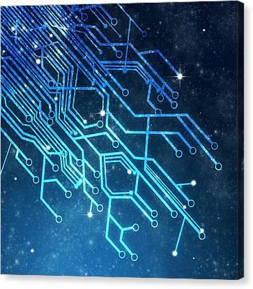 Circuit Board Technology Canvas Print by Setsiri Silapasuwanchai