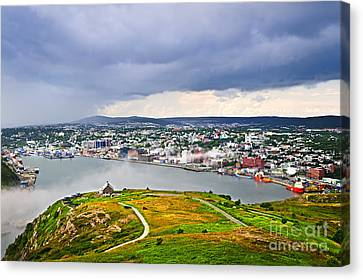 Cityscape Of Saint John's From Signal Hill Canvas Print by Elena Elisseeva