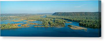 Confluence Of Mississippi And Wisconsin Canvas Print by Panoramic Images