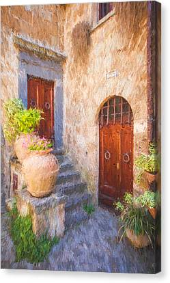 Courtyard Of Tuscany Canvas Print by David Letts