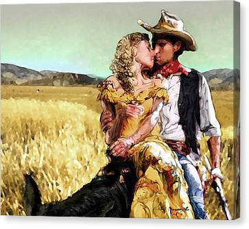Cowboy's Romance Canvas Print by Mike Massengale