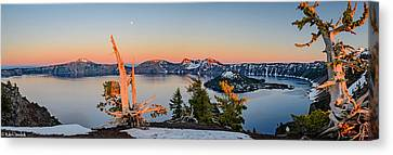 Crater Lake Panorama Canvas Print by Mike Ronnebeck