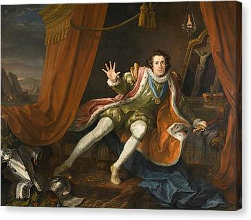 David Garrick As Richard IIi Canvas Print by William Hogarth