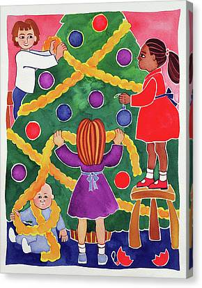 Decorating The Christmas Tree Canvas Print by Cathy Baxter