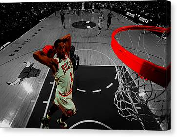 Derrick Rose Taking Flight Canvas Print by Brian Reaves
