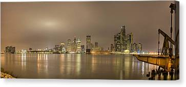 Detroit At Night Canvas Print by Andreas Freund