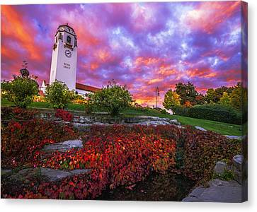 Dramatic Autumn Sunrise At Boise Depot In Boise Idaho Canvas Print by Vishwanath Bhat