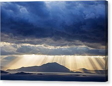 Dramatic Sky Above Mediterranean Seascape Canvas Print by Claudia Holzfoerster