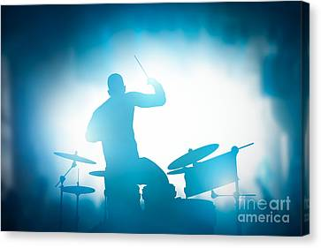 Drummer Playing On Drums On Music Concert. Club Lights Canvas Print by Michal Bednarek