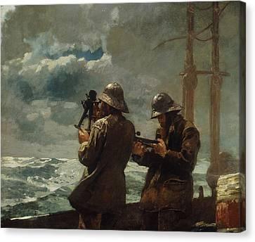 Eight Bells Canvas Print by Winslow Homer