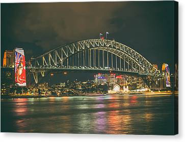 Evening Lights Of Sydney Canvas Print by Mountain Dreams