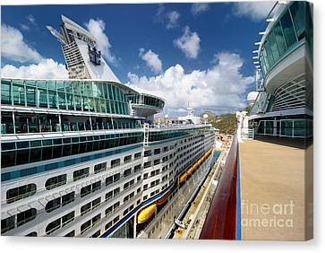 Explorer Of The Seas Seen From Adventure Of The Seas Canvas Print by Amy Cicconi