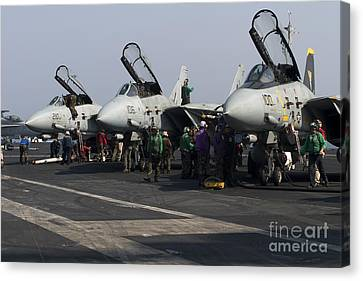F-14d Tomcats On The Flight Deck Of Uss Canvas Print by Gert Kromhout