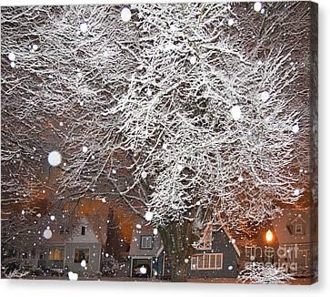 Falling Snow In A Neighborhood Canvas Print by David Buffington