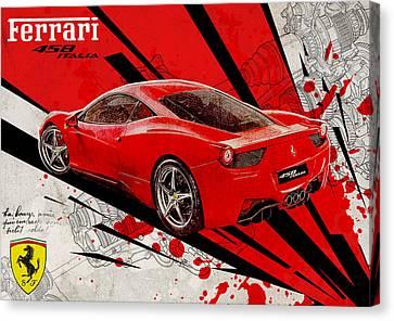 Ferrari 458 Italia Canvas Print by Yurdaer Bes