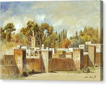 Fes Morocco Orientalist Painting Canvas Print by Juan  Bosco
