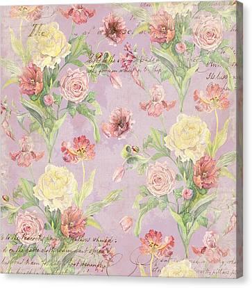 Fleurs De Pivoine - Watercolor In A French Vintage Wallpaper Style Canvas Print by Audrey Jeanne Roberts