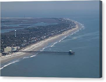 Folly Beach South Carolina Aerial Canvas Print by Dustin K Ryan