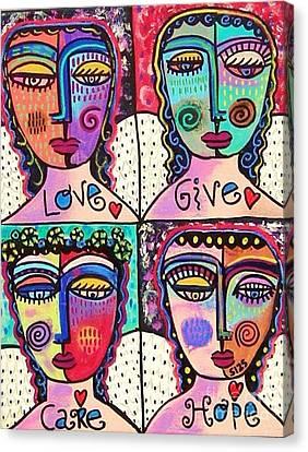 Four Gemstone Angels  Canvas Print by Sandra Silberzweig