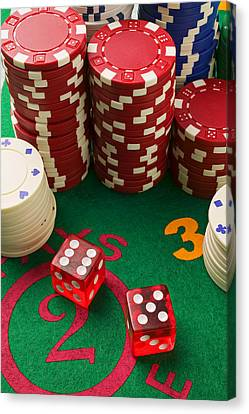 Gambling Dice Canvas Print by Garry Gay