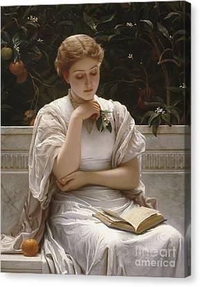 Girl Reading Canvas Print by Charles Edward Perugini