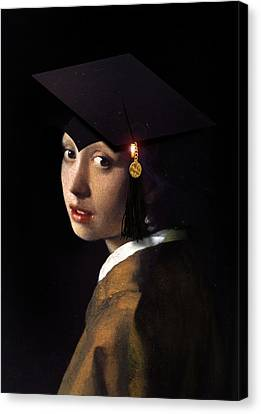 Girl With The Grad Cap Canvas Print by Gravityx9   Designs