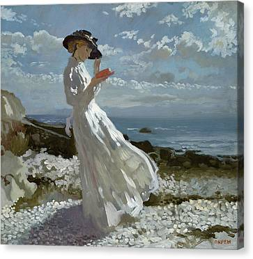 Grace Reading At Howth Bay Canvas Print by Sir William Orpen