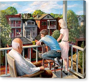 Grandpa's Back Porch Canvas Print by Edward Farber