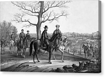 Grant And Lee At Appomattox Canvas Print by War Is Hell Store
