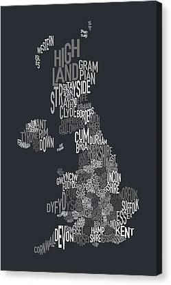 Great Britain County Text Map Canvas Print by Michael Tompsett
