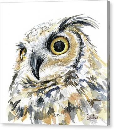 Great Horned Owl Watercolor Canvas Print by Olga Shvartsur