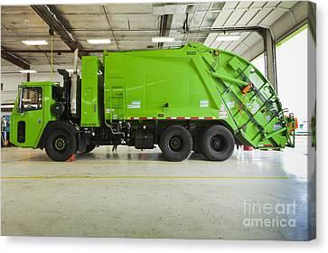 Green Garbage Truck Maintenance Canvas Print by Don Mason