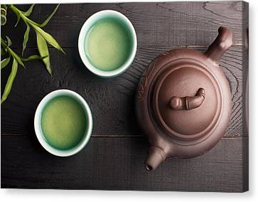 Green Tea In The Tea Cups Canvas Print by Vadim Goodwill