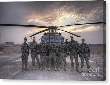 Group Photo Of Uh-60 Black Hawk Pilots Canvas Print by Terry Moore