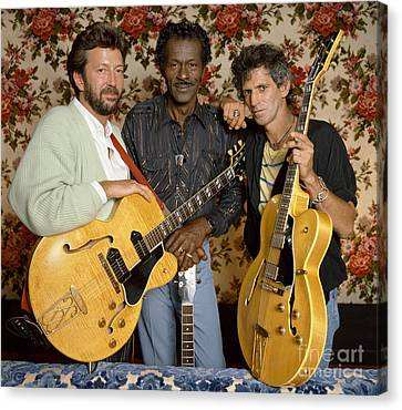 Guitar Legends Berry, Clapton Canvas Print by Terry O'Neill
