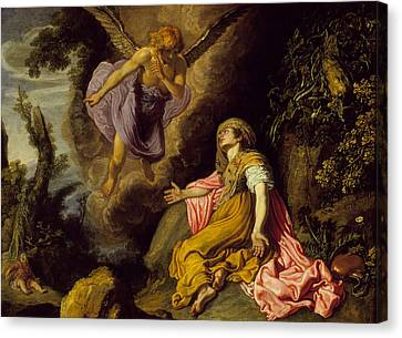 Hagar And The Angel Canvas Print by Pieter Lastman