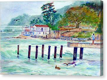 Hard Fishing Day Canvas Print by Estela Robles