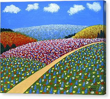 Hills Of Flowers Canvas Print by Frederic Kohli
