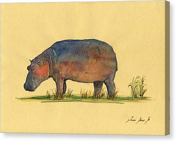 Hippo Watercolor Painting  Canvas Print by Juan  Bosco