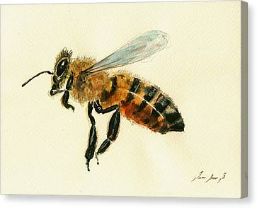 Honey Bee Watercolor Painting Canvas Print by Juan  Bosco