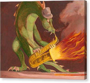 Hot Sax Canvas Print by Leonard Filgate