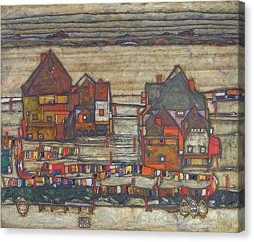 Houses With Laundry  Canvas Print by Egon Schiele