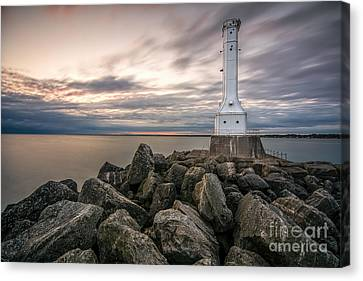 Huron Harbor Lighthouse Canvas Print by James Dean