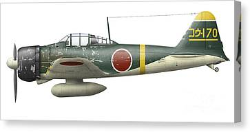 Illustration Of A Mitsubishi A6m2 Zero Canvas Print by Inkworm
