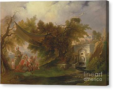 Indian Landscape With Figures Near A Stream Canvas Print by Celestial Images