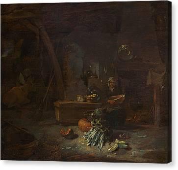 Interior Of A Kitchen Canvas Print by Willem Kalf