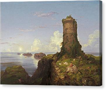 Italian Coast Scene With Ruined Tower Canvas Print by Thomas Cole