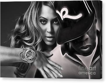 Jay Z Beyonce Collection Canvas Print by Marvin Blaine