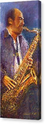 Jazz Saxophonist Canvas Print by Yuriy  Shevchuk